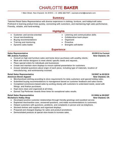 Best Rep Retail Sales Resume Example | LiveCareer