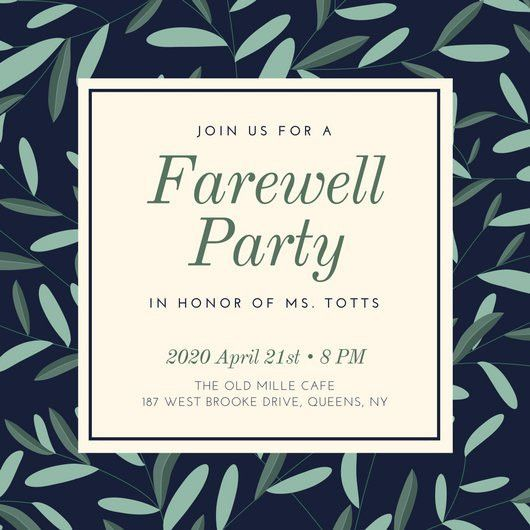Dark Blue and Green Leaves Farewell Party Invitation - Templates ...