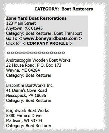 Bone Yard Boats -- Online Resource Guide Info