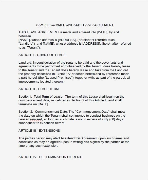 Sample Commercial Sublease Agreement - 8+ Free Documents Download ...