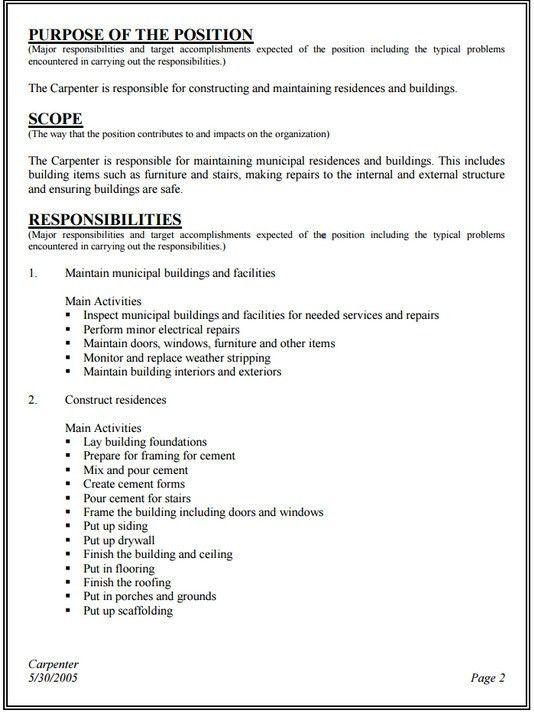 10+ Carpenter Resume Templates - Free PDF, Samples