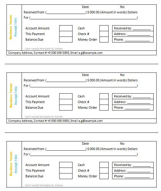 Cash receipt template (3 per page) - Dotxes