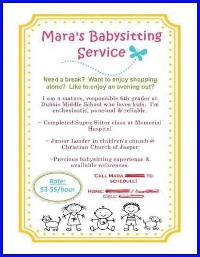 babysitting flyer | bio examples