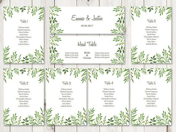 Watercolor seating chart template Lovely Leaves in green. DIY ...