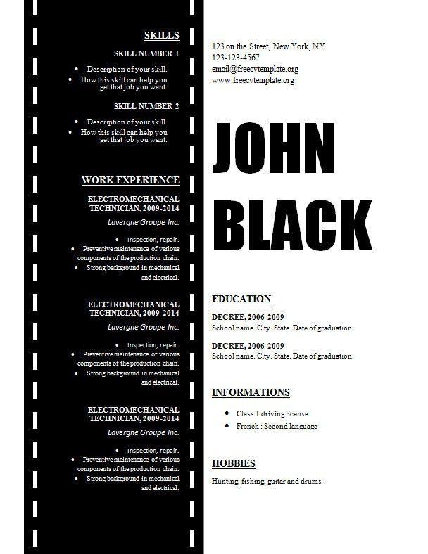 Design resume template for cinema, movie and film maker – Free CV ...