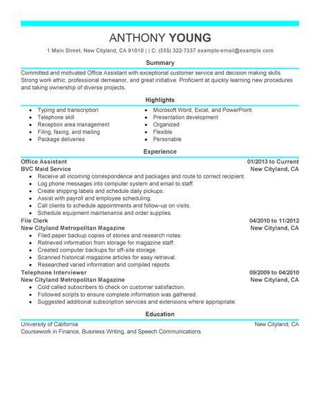 Best Office Assistant Resume Example | LiveCareer