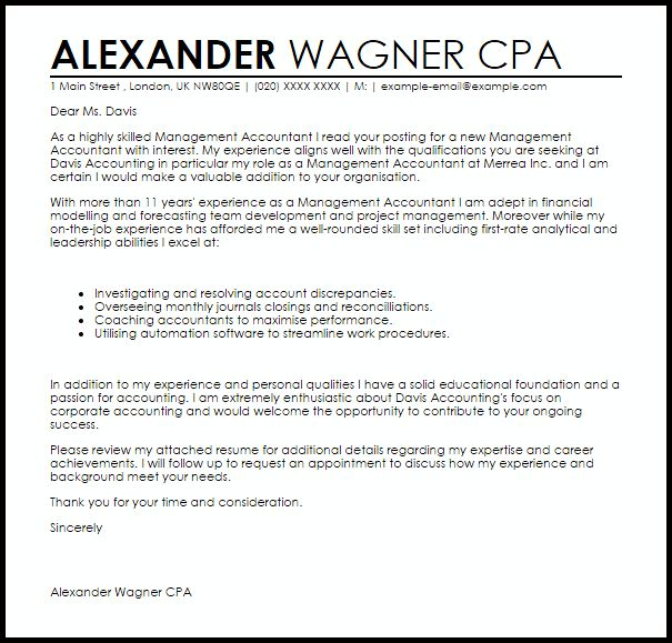 Management Accountant Cover Letter Sample | LiveCareer