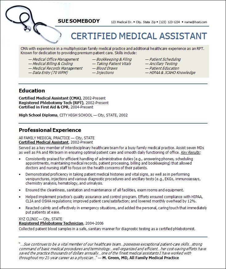 sample resume for medical administrative assistant resume examples ...