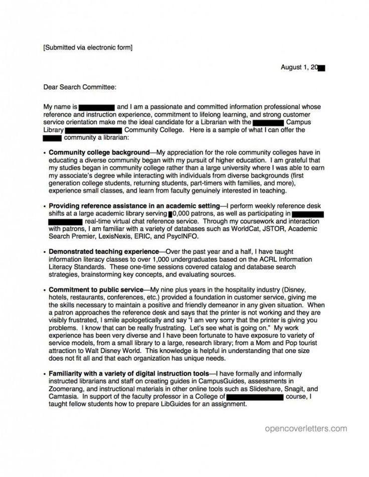 Community College Professor Cover Letter Sample - Mediafoxstudio.com