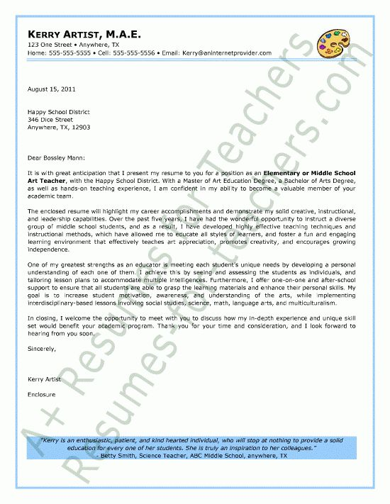 Elementary Teacher Cover Letter Sample | Cover letter sample ...