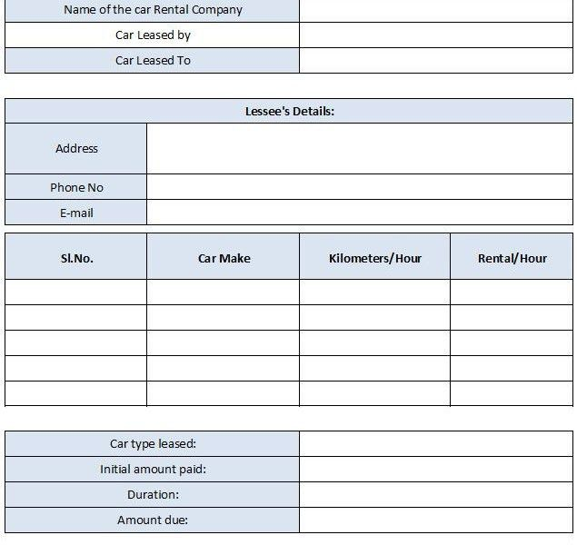 car rental invoice format   Free Invoice