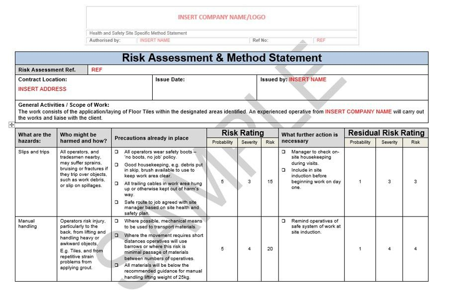 Risk Assessment & Method Statement for Floor Tiling | Seguro