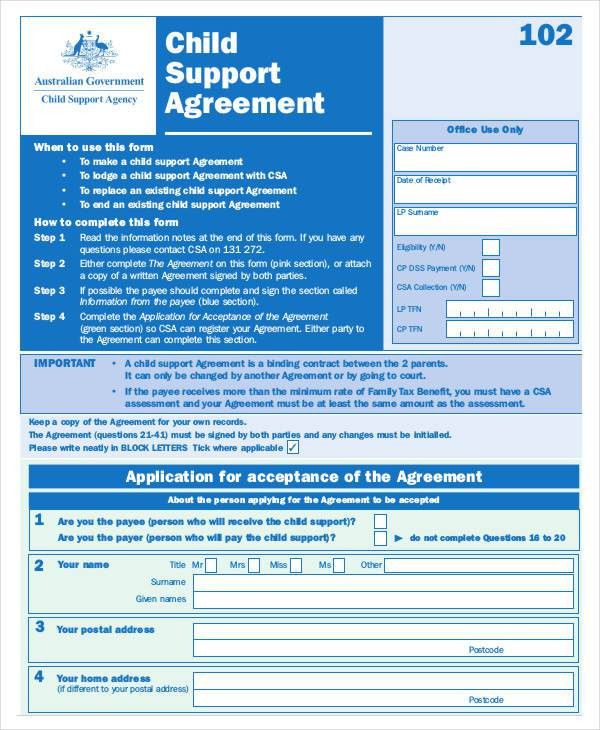 Child Support Agreement Template - 6+ Free Word, PDF Documents ...