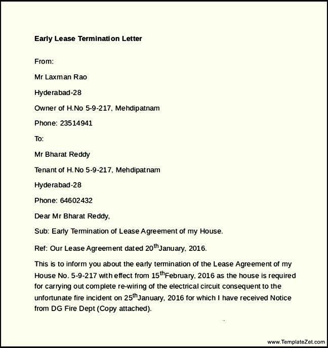 Apartment Lease Termination Letter. Free Sample Lease Termination ...