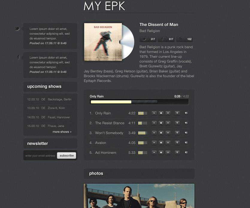 My Electronic Press Kit by therealthing | ThemeForest