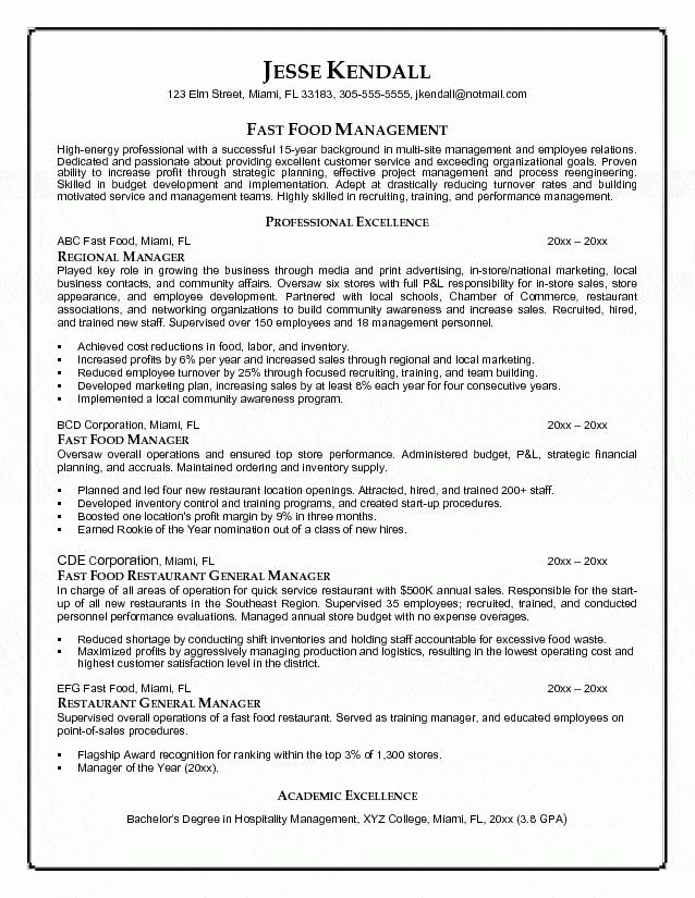 Food Manager Resume