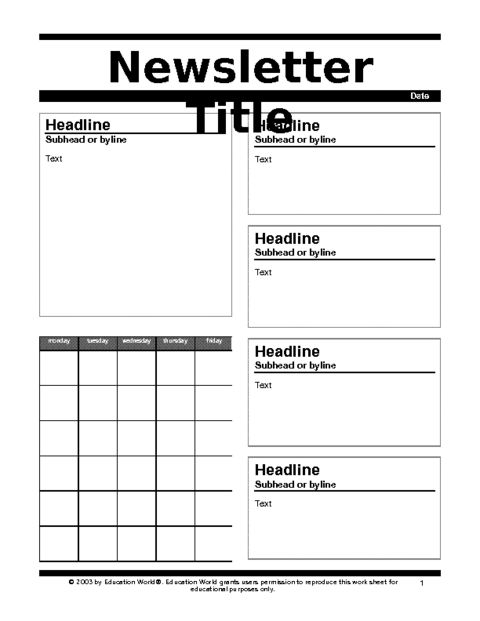 Education World: Newsletter 2 Template