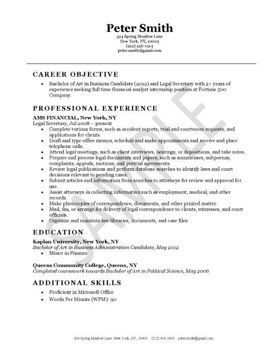 Secretary Resume Example