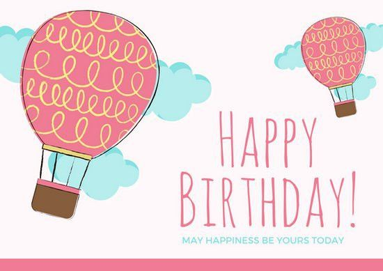 Balloon Themed Cute Happy Birthday Card - Templates by Canva