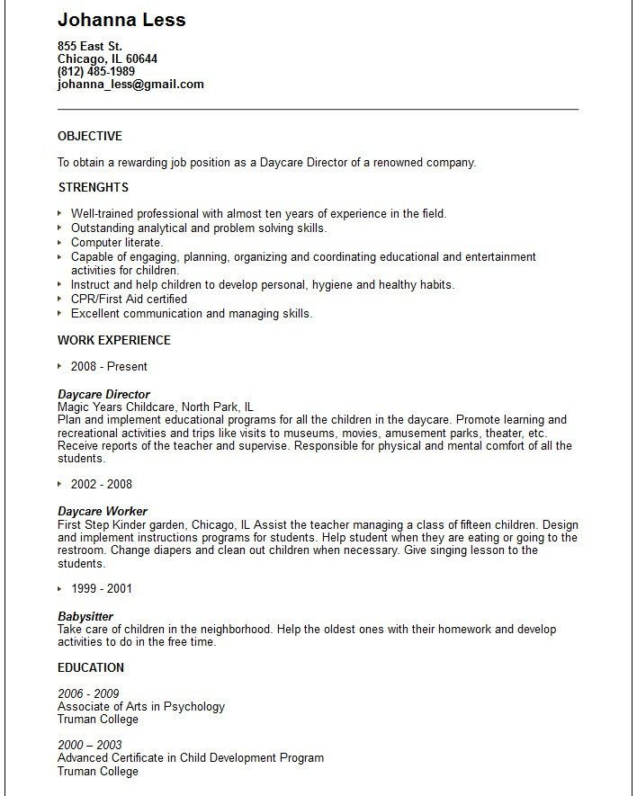 Daycare Resume Samples | Free Resumes Tips