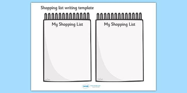 Shopping List Writing Template - Blank shopping list templates