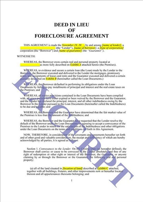Deed In Lieu Of Foreclosure: REALCREFORMS