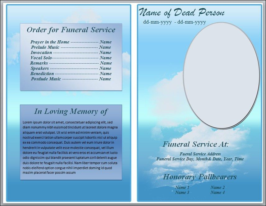 Funeral Template Free] Dove Printable Funeral Card For Microsoft ...