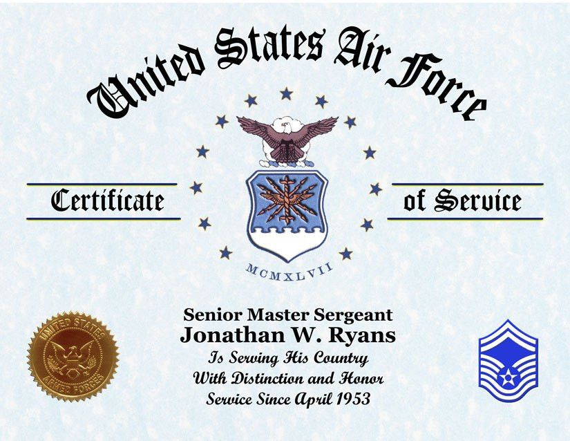 US Air Force Veterans Certificate of Service Displays Awards