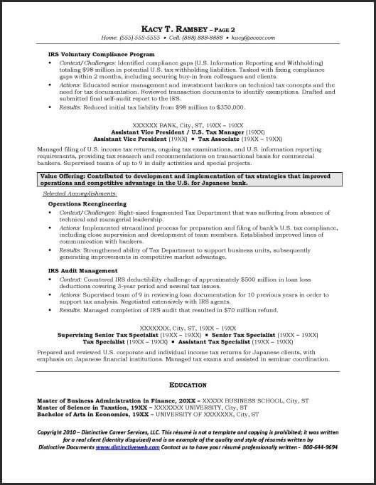Investment Banking Resume Template - Resume Sample