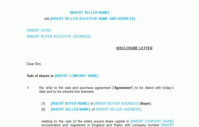 Business Sale Disclosure Letter Template - Bizorb