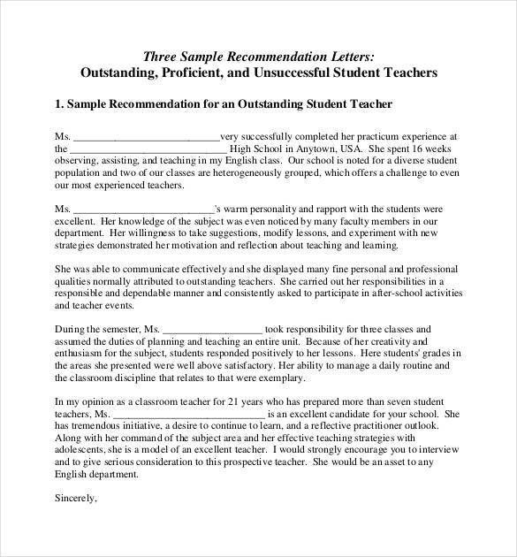 Letters of Recommendation for Teacher - 26+ Free Sample, Example ...
