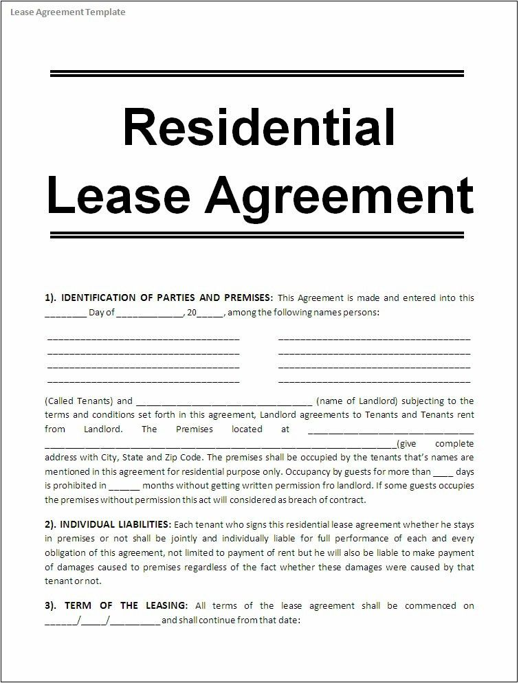 Rental lease Templates | Printable Paper Invoices