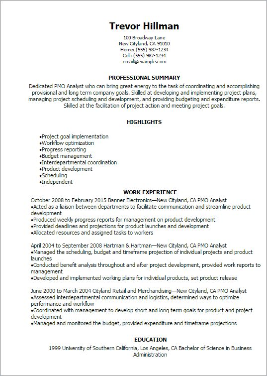 Professional Pmo Analyst Resume Templates to Showcase Your Talent ...