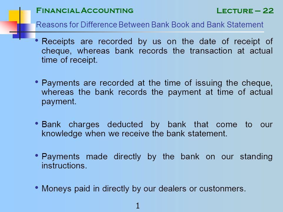 Financial Accounting 1 Lecture – 22 Reasons for Difference Between ...