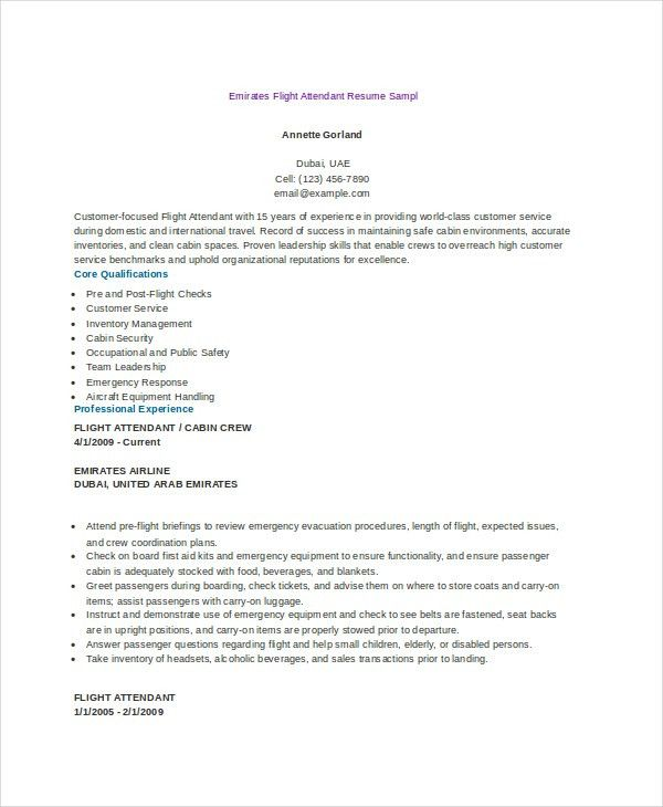 Flight Attendant Resume. Flight Attendant Resume Template Free ...