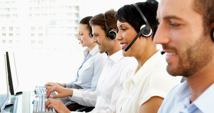 Customer Service Representatives At A Call Center Stock Footage ...