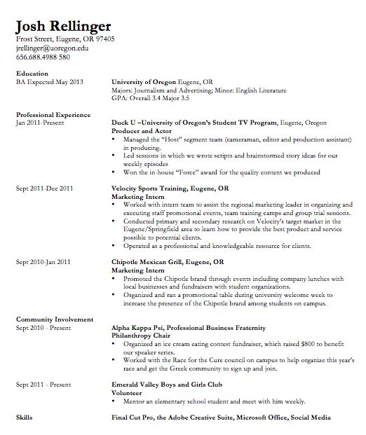 Resume Education Section Example Some College - Augustais