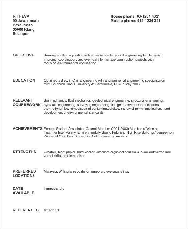 Sample Resume Recent Graduate Civil Engineer - Templates