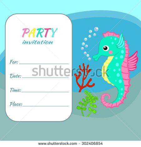 Children Birthday Party Invitation Card Template Stock Vector ...
