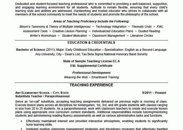 Elementary School Teacher Resume Example education & credentials ...