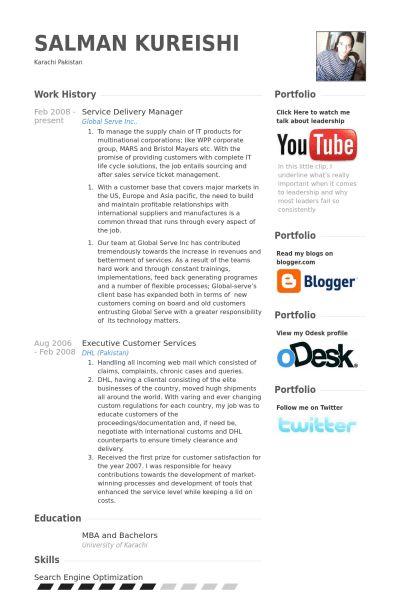 Service Delivery Manager Resume samples - VisualCV resume samples ...
