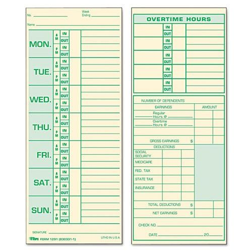 Printable Time Cards | Time Card Template
