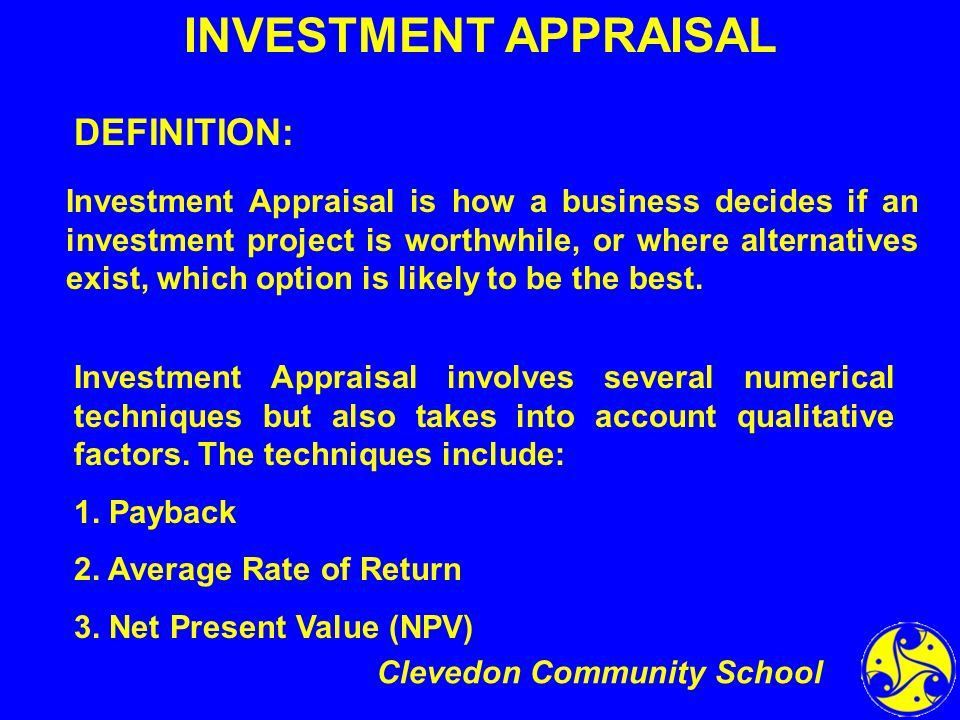 Investment Appraisal A Level Business Studies - ppt download