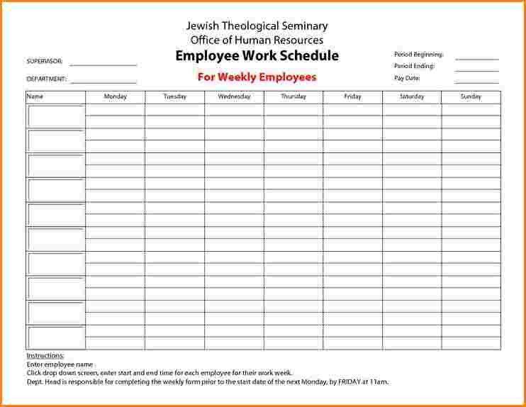 7+ Blank Weekly Employee Schedule Template | receipts template