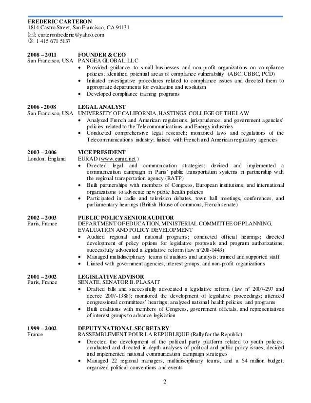 F carteron resume legal & international exp