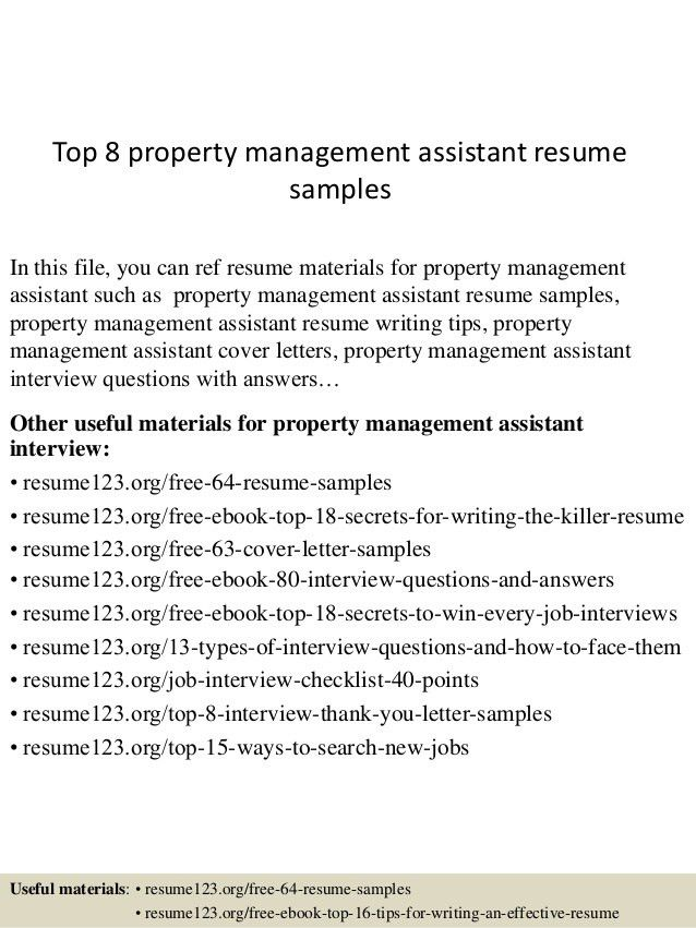 ideas collection property assistant sample resume for service ...