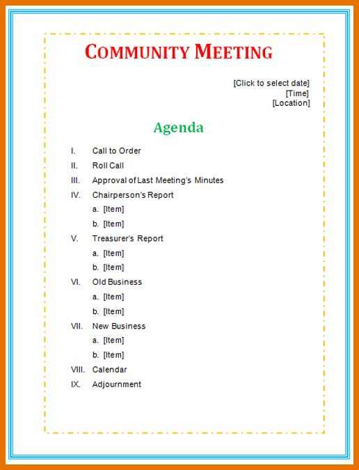 6+ meeting agenda template | Itinerary Template Sample