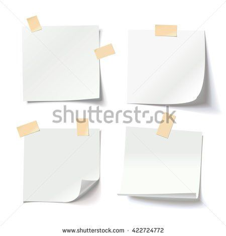 Collection Various White Note Papers Curled Stock Vector 422724772 ...