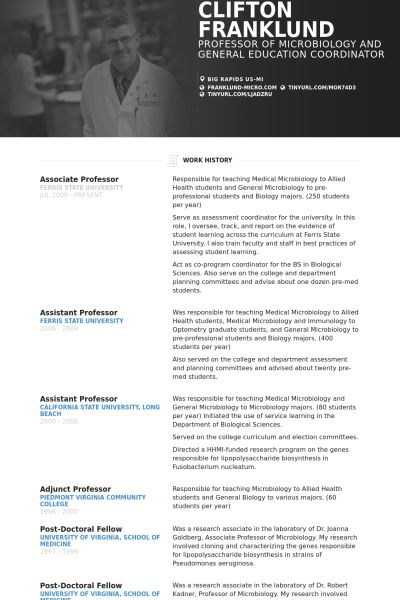 Professor Resume samples - VisualCV resume samples database