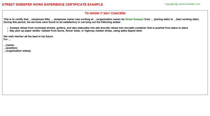 Street Sweeper Work Experience Certificate